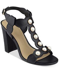 b65b00d8af6 Image 1 of Marc Fisher Kaylee Embellished Block-Heel Sandals T Strap Shoes