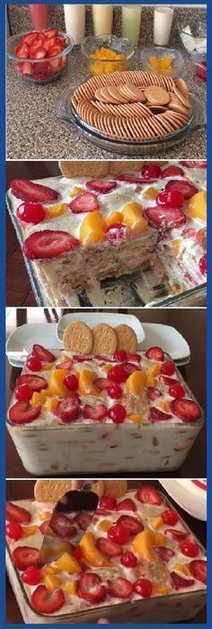 Postre De Galletas María Con Frutas, Delicioso Y Fácil De Preparar. #postre #galletas #frutas #facil #galletasmaria #tips #cake #pan #panfrances #panettone #panes #pantone #pan #recetas #recipe #casero #torta #tartas #pastel #nestlecocina #bizcocho #bizcochuelo #tasty #cocina #chocolate Si te gusta dinos HOLA y dale a Me Gusta MIREN...