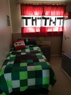 Minecraft bedroom  Duvet and curtains made by I'm in stitches on Facebook