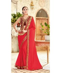 Red Embroidered Chiffon Saree With Blouse Red Chiffon, Chiffon Saree, Red Colour, Casual Saree, Saree Wedding, Saree Collection, Indian Sarees, Indian Dresses, Lifestyle