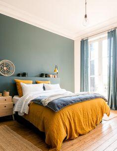 Un mur coloré en vert de gris #Appartmentdecoration