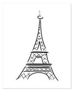 Eiffel Tower Letterpress Print, 16x20""