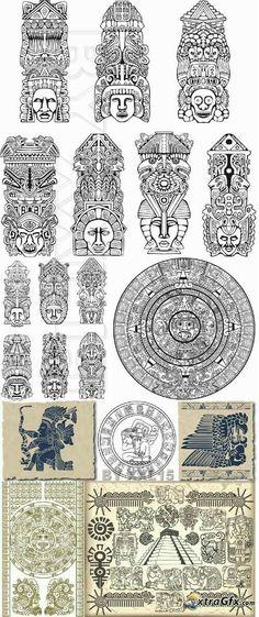 Ancient Symbols, Ancient Art, Inka Tattoo, Gott Tattoos, Ta Moko Tattoo, Aztec Symbols, Mayan Symbols, Arte Latina, Mayan Tattoos