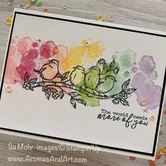 card making ideas stampin up Rainbow Birds using Free As A Bird Stamp Set Tarjetas Stampin Up, Karten Diy, Bird Cards, Stamping Up Cards, Watercolor Cards, Watercolour, Watercolor Birthday Cards, Birthday Card Drawing, Pretty Cards
