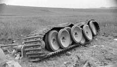 A German Tiger tank's tracks blown completely off as the tank was destroyed!!