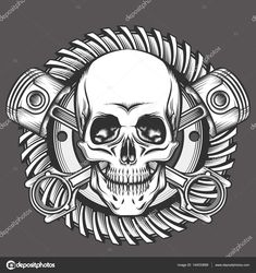 Buy Skull with Pistons Against Motorcycle Gear Emblem by on GraphicRiver. Vintage Skull With Crossed Piston and Motorcycle Gear Emblem. Biker Club or Motorcycles workshop design element. Piston Tattoo, Gear Tattoo, Workshop Design, Skull And Bones, Motorcycle Gear, Skull Art, Crane, Just For You, Illustration