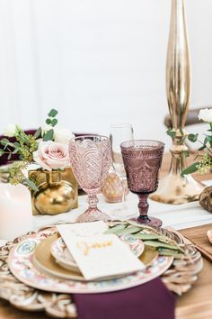 We have colored goblets in pink, purple, dusty blue, cornflower blue, and amber! www.a1wedding.com 903-463-7709