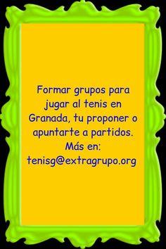 Formar grupos para jugar al tenis en Granada, tu proponer o apuntarte a partidos. Más en  Tenis Granada, jugar,   https://www.facebook.com/Tenis-Granada-jugar-315740791965551/ Canal tenis Granada https://telegram.me/joinchat/AEQmCz_EvnGOgP_QCExc_Q/ Grupo https://telegram.me/joinchat/AEQmCwcmZOlajriBv5faww/ Email tenisg@extragrupo.org