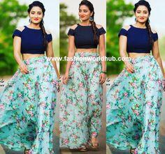 Bhanu Sri in Long skirt and crop top by Swapna Paidi | Fashionworldhub