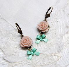 Sweet!!! Pastel Earrings Ivory Flower Earrings Handmade by me---> Weezi, $12.00  :0 #earrings #handmade #etsy
