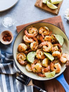 Skillet Shrimp with Lime and Green Curry Compound Butter by Kitchen Confidante   foodiecrush.com
