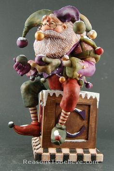 Santa as a Jester on a Box - Made with Polymer Clay