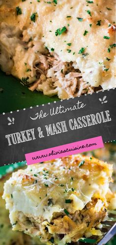 This Leftover Turkey Casserole Recipe is perfect for the day after Thanksgiving or Christmas! Leftover turkey and left over gravy are topped with leftover mashed potatoes and grated fresh cheese, then baked to golden perfection. You can even throw in some extra leftover vegetables and stuffing, and serve with a side of cranberry sauce! #thanksgiving #christmas #leftovers #leftoverturkey Leftover Turkey Casserole, Leftover Mashed Potatoes, Mashed Potato Casserole, Thanksgiving Leftovers, Cranberry Sauce, Turkey Recipes, Casserole Recipes, Gravy, Vegetables