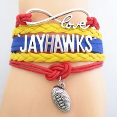 Infinity Love Kansas Jayhawks Football - Show off your teams colors! Cutest Love Kansas Jayhawks Bracelet on the Planet! Don't miss our Special Sales Event. Many teams available. www.DilyDalee.co