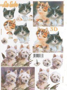 Feuilles à découper 3D  2 chats pour la décoration d'objets bois ou autre.