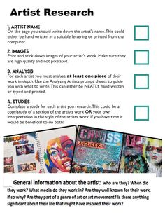 Artist Research Page help Sheets Textiles Sketchbook, Gcse Art Sketchbook, Sketchbook Ideas, Sketchbooks, A Level Art Sketchbook Layout, Sketchbook Inspiration, High School Art, Middle School Art, Artist Research Page