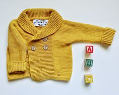 Hand knitted merino baby cardigan  Warm and soft by YellowYarnyYak