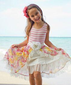 Pink & Créme Taffeta Mesh Princess Dress- Toddler & Girls