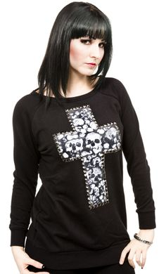 IRON FIST BURIED DEEP SWEATER    Get Buried Deep into this comfy sweater from Iron Fist! This black, crew neck sweater features a skull printed cross embellished with silver studs & belt collar detail in back. Sweater also has the perfect longer length to keep you warm.