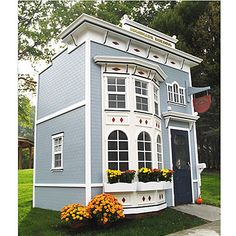 Should you care to order this playhouse, Posh Tots will send a team of artisans to your house. Then they will draw up, plan, and build a scale-model replica of the house in which you live. Let the adults have their full-sized house! Your child(ren) can move right into the backyard playhouse, built to their size, right on down to a miniature version of their own room.