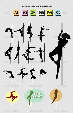 Pole Dance Silhouettes #GraphicRiver Nice and smooth pole dancer silhouettes. Good use for your symbol, logo, sticker design, icon, or any design you want. Easy to use, edit, or change color. ZIP included : AI CS, EPS8, CDR coreldraw (vector files = can use any size you want without loss resolution), JPEG high resolution, PNG transparent without background, and PSD 300ppi photoshop file. Created: 9October13 GraphicsFilesIncluded: PhotoshopPSD #TransparentPNG #JPGImage #VectorEPS…