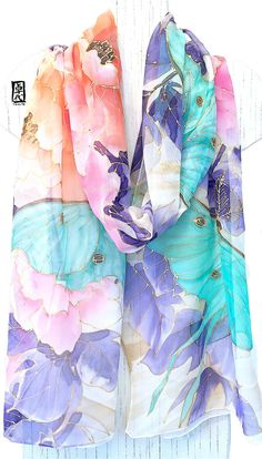 Hand Painted Silk Shawl, Silk Chiffon Shawl, Pink and Mint Green, Midnight Peonies with Luna Moths Scarf, Silk Scarves Takuyo, 22x90 inches.