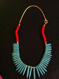 Tribal inspired statement necklace in blue howlite needle beads and red glass beads