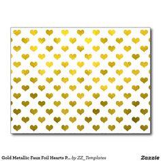 Gold Metallic Faux Foil Hearts Polk Dot Heart Postcard