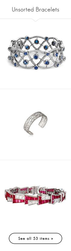 """""""Unsorted Bracelets"""" by thesassystewart on Polyvore featuring jewelry, bracelets, accessories, sapphire bangle, sapphire jewelry, blue nile jewelry, diamond jewelry, diamond jewellery, vintage bangle and bohemian style jewelry"""