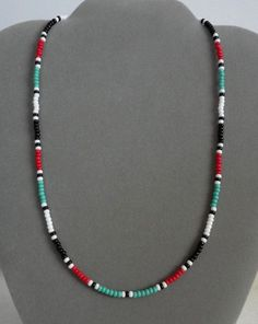 Turquoise + Red + Black Mens, Womens Necklace Native American Made - All Sizes