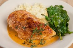 Why go plain when you can make it special? Spice up an ordinary #chicken and spinach meal with a dash of paprika and a creamy white wine butter sauce.