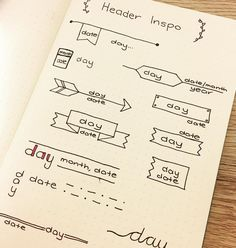Header ideas for bullet journal entries. Need to mix things up a bit! Bullet Journal Décoration, Bullet Journal Headers, My Journal, Journal Pages, Journal Ideas, Daily Journal, Creative Journal, Kalender Design, Sketch Note