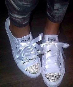 Bling All White Crystal Diamanté Bling Converse All Star Ribbon Laces on Etsy, $120.86