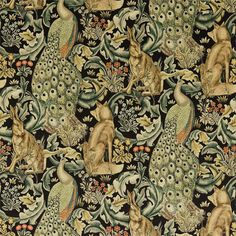 Forest Velvet by William Morris. A tapestry inspired fabric depicting a forest scene with peacocks, hares and foxes set amongst scrolling acanthus leaves. Digitally printed on black with gold, duck egg blue and natural shades of green. William Morris Wallpaper, William Morris Art, Morris Wallpapers, Craftsman Fabric, Craftsman Style, Inchies, William Morris Patterns, Motif Art Deco, Art And Craft