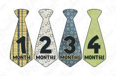 Monthly Onesie Tie Stickers from Little Baby Bumblebee