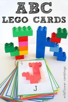 Alphabet Lego Cards: Uppercase {free printable - Activities for preschoolers and older - Preschool Letters, Learning Letters, Kindergarten Literacy, Preschool Learning, Lego Letters, Kids Learning, Learning Spanish, Letter Recognition Kindergarten, Lego Words