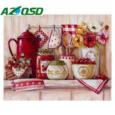 AZQSD 3D diy Diamond Painting Cross Stitch Retro Cups Diamond Embroidery Picture Of Home Decor Diamond Mosaic Painting BB4431