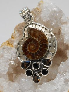 Ammonite and Sterling Fossil Pendant 2 with Onyx and Topaz #fossils #ammonite #sterling