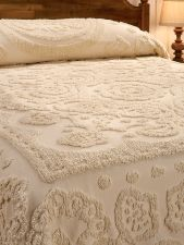 Floral chenille bedspread made of plush cotton with floral center medallion, scallop border, and traditional fringe. Cotton chenille provides all-season comfort. Vintage Bedroom Furniture, Bedroom Vintage, Cabin Furniture, Western Furniture, Rustic Bedroom Design, Bedroom Decor, Rustic Bedrooms, Master Bedroom, Log Home Interiors