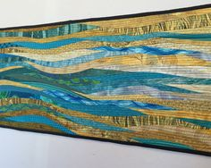 "Teal wall art. Quilted long hanging. Modern quilt. Teal table runner. Quilted runner. Nautical quilt. For the home. Textile art. 13x60""."