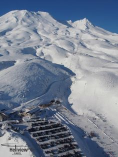 An aerial shot of Turoa Ski field on Mt Ruapehu, Central Plateau. Snowboarding, Skiing, Mount Ruapehu, Alpine Lake, Crater Lake, Winter Day, Serenity, New Zealand, Waterfall