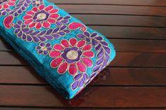 1 Yard MultiColor Floral Design Blue Fabric by ArtsyCraftsyShoppe