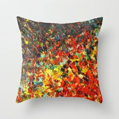 END OF THE RAINBOW - Bold Multicolor Abstract Colorful Nature Inspired Sunrise Sunset Ocean Theme Throw Pillow by EbiEmporium - $20.00