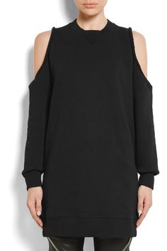 Givenchy - Cold-shoulder Embroidered Cotton-jersey Sweatshirt - Black