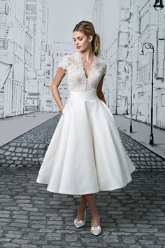 Justin Alexander  Lace Bodice with Short Sleeves and Silk Tea Length Ball Gown Skirt