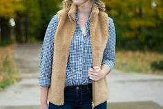 Fleece Plush Excursion Vest, J Crew, gingham, blue gingham, button down, Gap, LL Bean, casual look, fall look, fall outfit, fall fashion, fall style, dark lip, American Eagle, UGG, Ugg 'Ava' knee high boots, forest green, Christian Lacroix, monogram, BaubleBar, marble monogram, vest weather, layers, Thanksgiving outfit, what to wear on Thanksgiving, 2016 Thanksgiving look, Thanksgiving style, Nordstrom, changing leaves // Emillion Thoughts