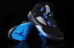 Air Jordan 5 V Retro Shoes Black Blue- I want these Foot Games, Blue Jordans, Air Jordan 5 Retro, Retro Shoes, Air Jordan Shoes, Black Shoes, Cute Outfits, Sneakers Nike, Awesome