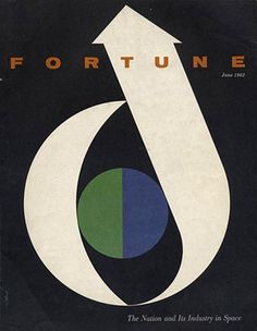 I like the use of the blue and green circle, and also the crescent moon/arrow.  [Fortune cover; Walter Allner (1962), via www.johncoulthart.com/feuilleton ]