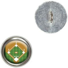 Fancy and Decorative {16mm w/ 1 Back Hole} 4 Pack of Medium Size Round 'Alpha Shank' Sewing and Craft Buttons Made of Genuine Metal w/ Athletic Sports Baseball Field Design {Silver White Brown and Green} >>> Check this awesome product by going to the link at the image.