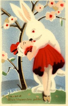 Impossible love between a girl and a white rabbit #kiss #VintagePostcard- Carefully selected by GORGONIA www.gorgonia.it